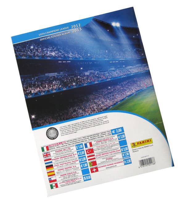 Panini Champions League 2012-2013 album posteriore